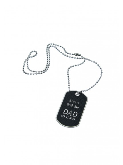 LZS Black with Silver Dog Tag 28in Necklace