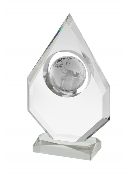 23.75cm Crystal Globe Award in Box