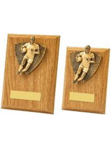 Antique Gold Male Rugby Wood Plaque Award - 2 Sizes