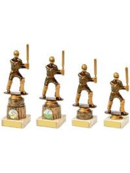 Antique Gold Cricket Batsman Award - 4 Sizes