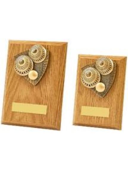 Light Oak Lawn Bowls Wood Plaque Award - 2 Sizes