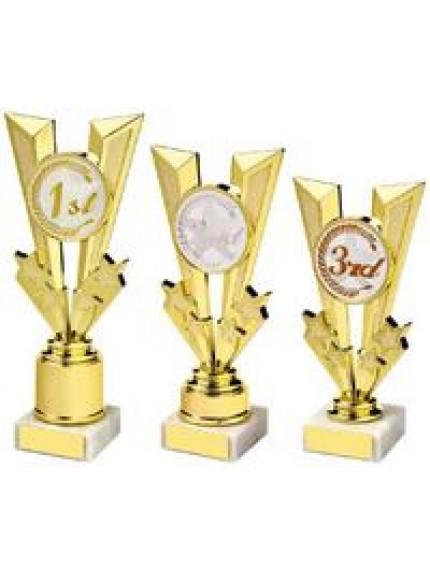 Shiny Gold V Placing Holder Award - 3 Sizes