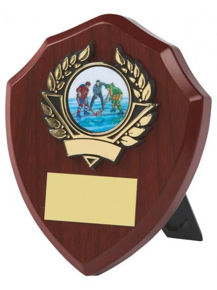 Wood Shield Award With Black Badge