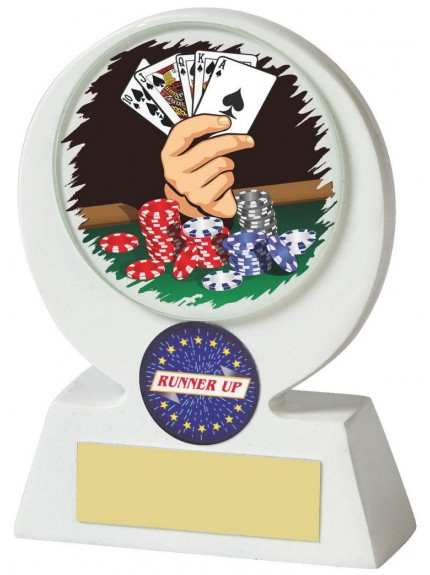 White Resin Poker Award In White Resin