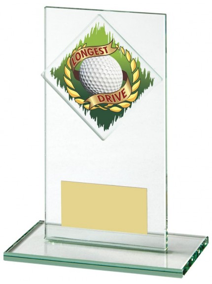 14cm Jade Glass Longest Drive Golf Award