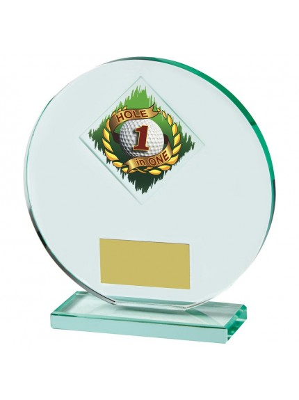 Heavy, Round Jade Glass Hole in One Golf Award