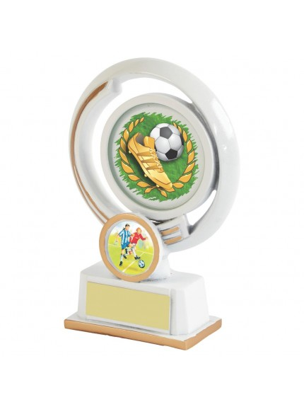 White Resin Boot & Ball Football Award - Available in 4 sizes