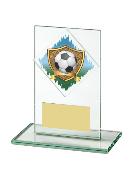 Jade Glass Upright Football Award - Available in 5 sizes