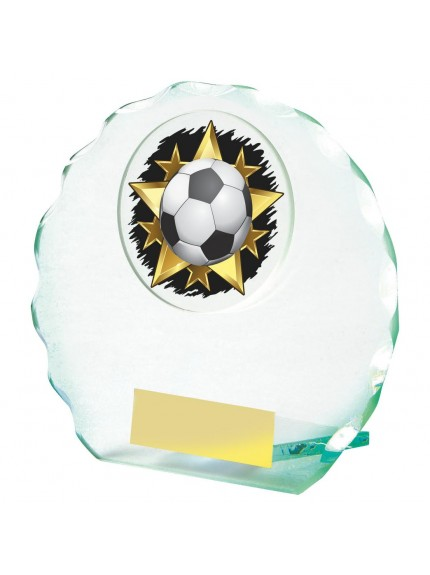 Jade Glass Circle Football Award - Available in 4 sizes
