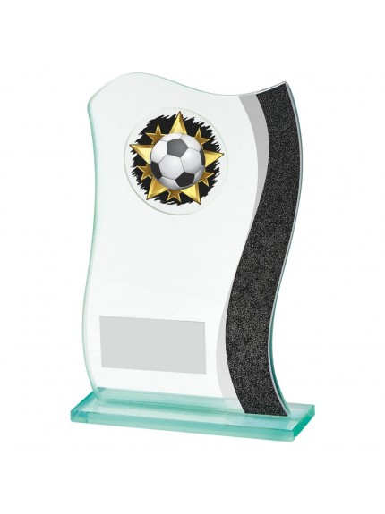 Jade Glass Scroll Football Award - Available in 3 sizes