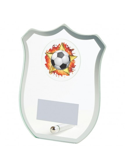 Jade Glass Shield Football Award - Available in 3 sizes