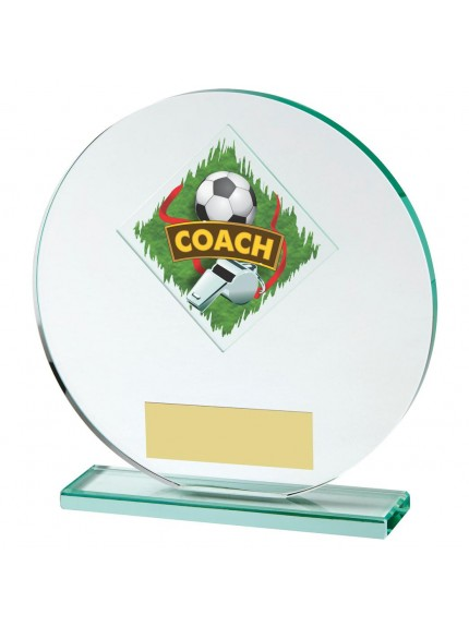 15cm Jade Glass Football Coach Award