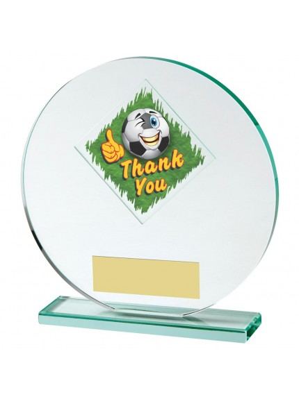 15cm Jade Glass Circle Football Thank You Award