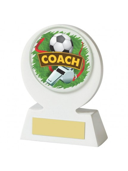 11cm White Resin Football Coach Award