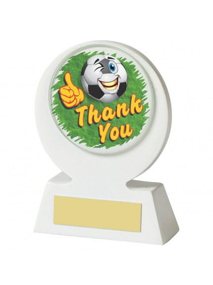 11cm White Resin Football 'Thank You' Award