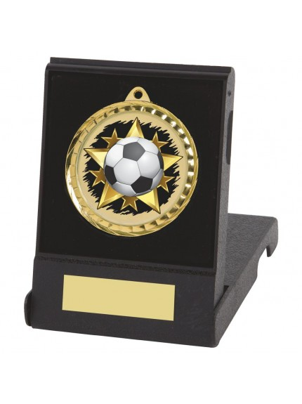 6cm Colour Print Football Medal & Case - Available in Gold and Silver