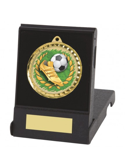 6cm Colour Printed Football Boot & Ball Medal with Case - Available in Gold and Silver