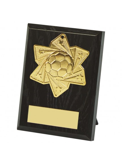 10cm Football Medal Plaque - Available in Gold and Silver