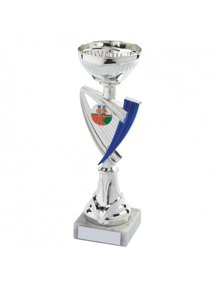 Silver & Blue Trophy Cup - Available in 6 sizes
