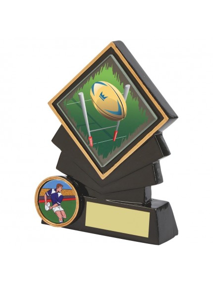 Black Resin Diamond Rugby Award - Available in 3 sizes