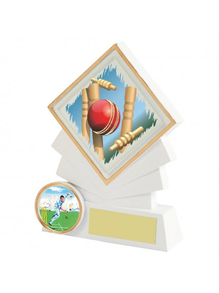 White Resin Diamond Cricket Award - Available in 3 sizes