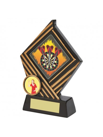 Black Resin Diamond Darts Award - Available in 3 sizes
