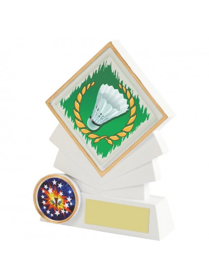 White Resin Diamond Badminton Award - Available in 3 sizes