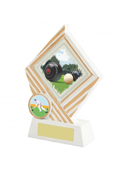 White Resin Diamond Lawn Bowls Award - Available in 3 sizes