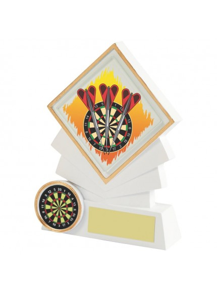 White Resin Diamond Darts Award - Available in 3 sizes
