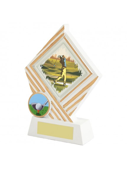 White Resin Diamond Golf Award - Available in 3 sizes