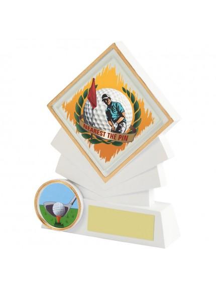 12cm White Resin Diamond Golf Award - Nearest the Pin