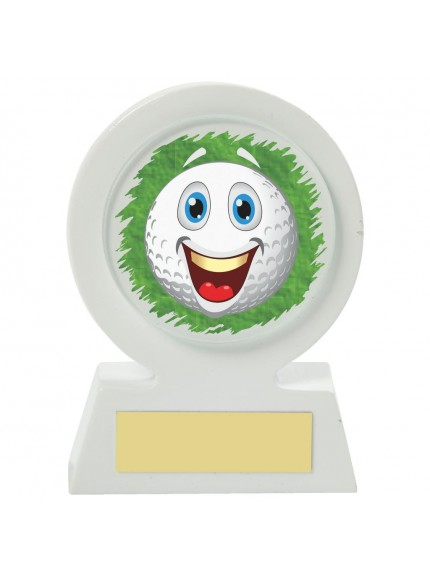 11cm White Resin Golf Collectable - Happy