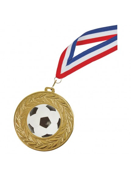 90mm Football Medal with Ribbon - Available in Gold, Silver and Bronze
