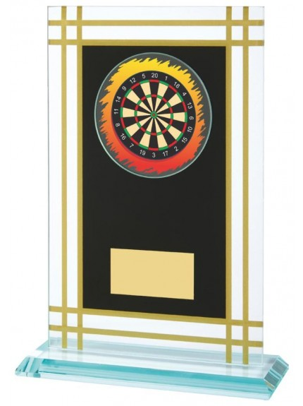 Jade Glass Darts Award With Black/Gold Panel
