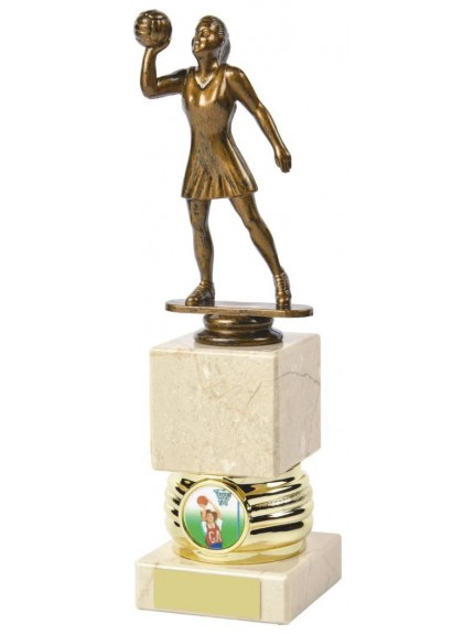Antique Gold Netball Awards mounted on Cream Marble