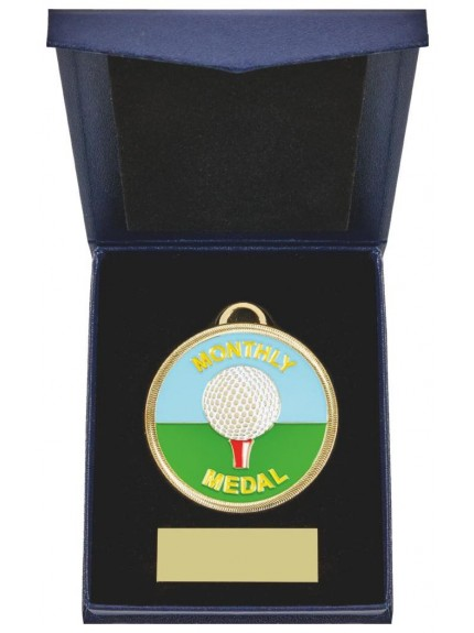 60mm Golf Medal in Navy Blue Case