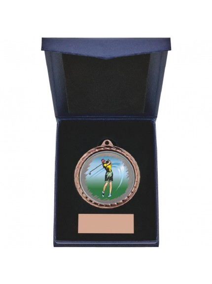 Golf (F) Insert Medal in Presentation Case - 3 Colours