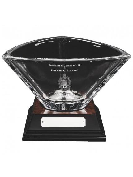 14.5cm Bohemia Crystalite Bowl on Wood Base