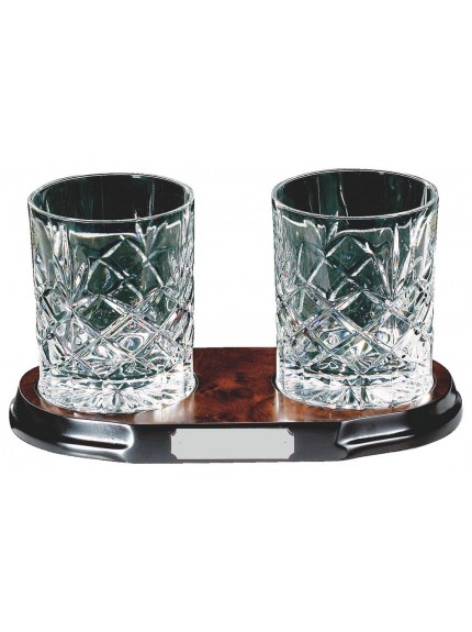 Two Crystal Tumblers On Wood Stand