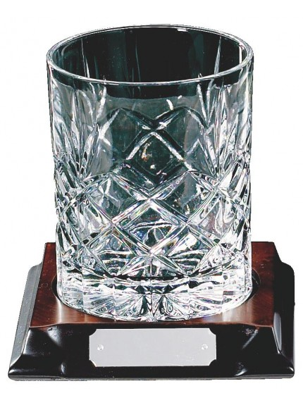 Crystal Tumbler On Wood Stand