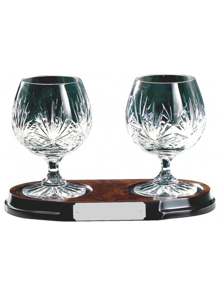 Two Crystal Brandy Balloons On Wood Stand