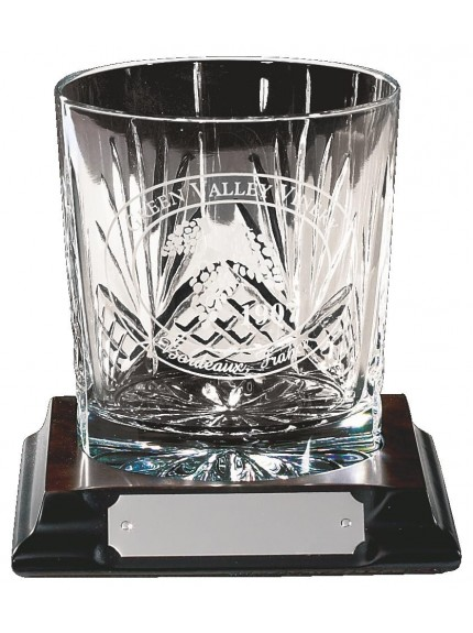 Engraved Crystal Tumbler On Wood Stand