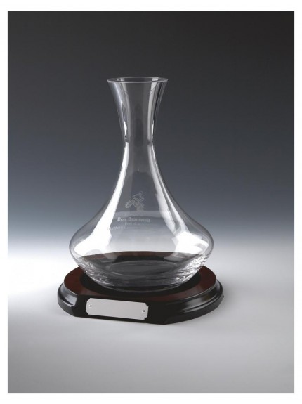 Glass Wine Decanter On Wood Stand In Clear Glass