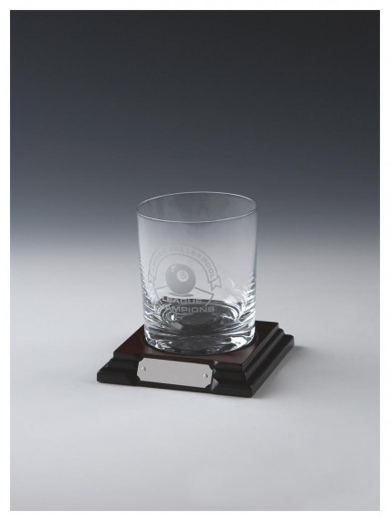 Glass Spirit Tumbler On Wood Stand In Clear Glass