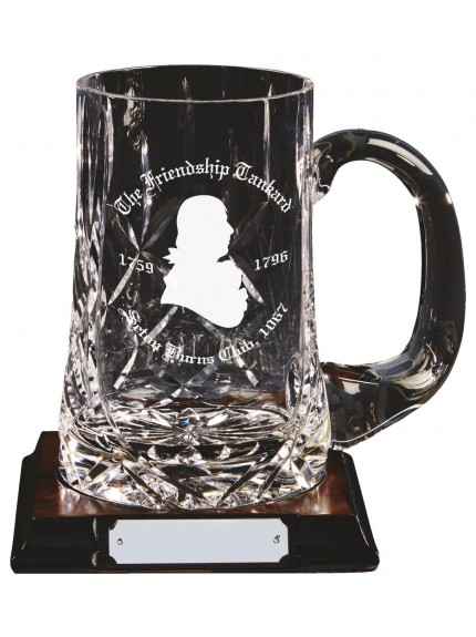 Engraved 1 Pint Crystal Tankard On Wood Stand