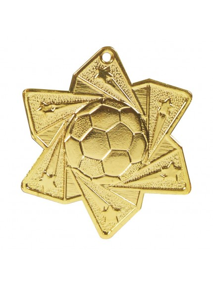 60mm Football Star Medal - Available in Gold and Silver