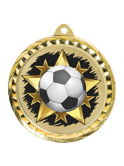 6cm Colour Printed Football Medal - Available in Gold and Silver