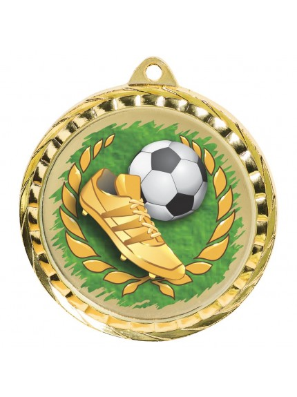 6cm Colour Printed Football Medal with Boot & Ball - Available in Gold and Silver