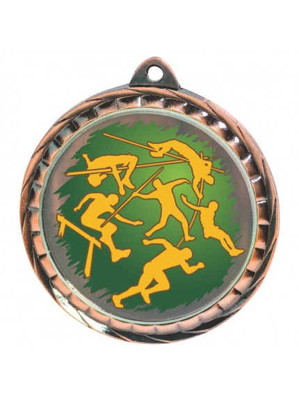 60mm Colour Print Athletics Medal - Available in Gold, Silver and Bronze