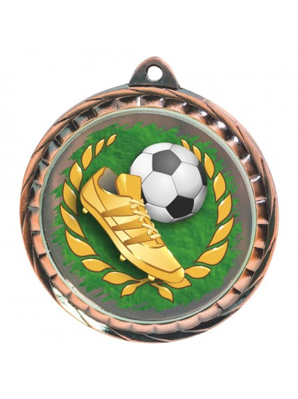 60mm Colour Print Football Medal - Available in Gold, Silver and Bronze